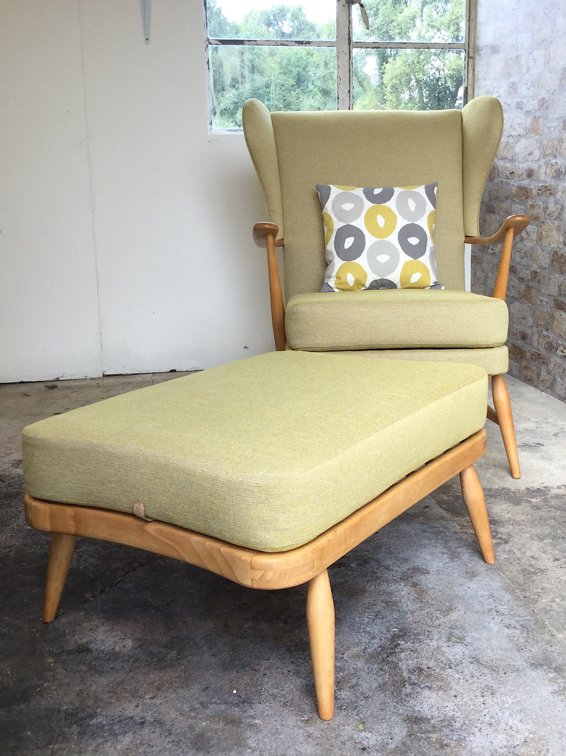 Mid Century Ercol Wingback Chair & Footstool