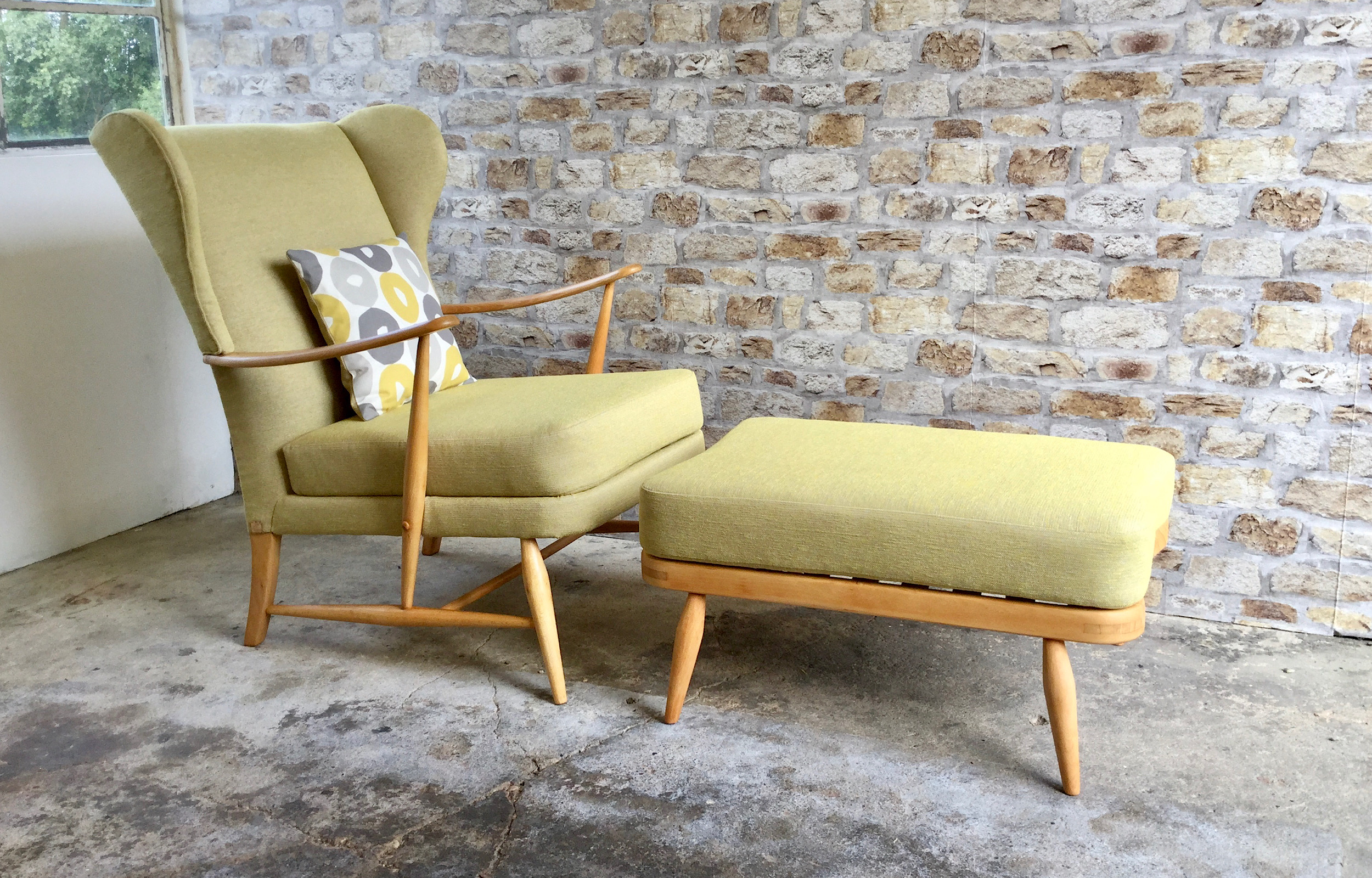 Mid Century Ercol Wingback Chair and Footstool
